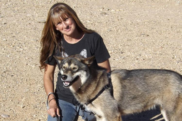 Sherry Woodard with a malamute-type dog