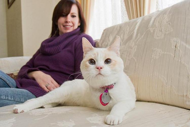 Woman with her white three-legged cat