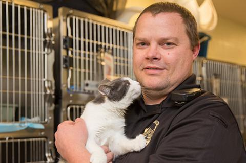 Animal control officer holding a cat in front of some kennels at a municipal shelter