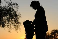 Silhouette of pitbull dog and his person, a woman serving in the military