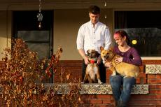 This couple and their two dogs found a pet-friendly rental house.