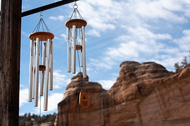 Windchimes at Angels Rest with red cliffs in the background